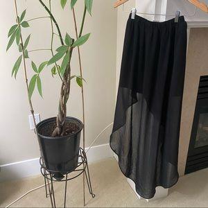 H&M Black Mesh Elastic Waist High Low Maxi Skirt